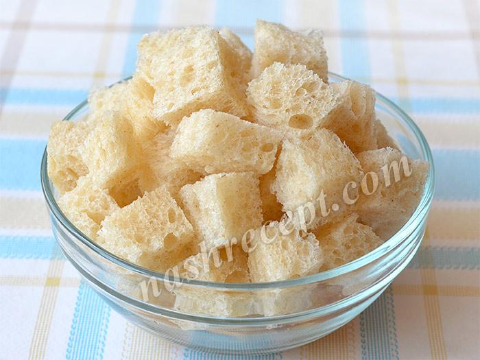 кубики хлеба для гаспачо - kubiki hleba dlya gazpacho