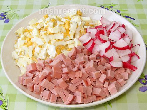 яйца, колбаса и редис для окрошки - yaytsa, kolbasa i redis dlya okroshki