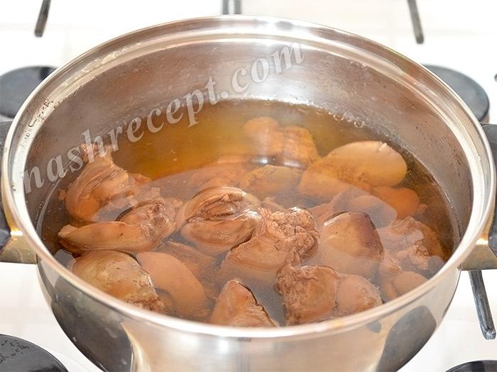 куриная печень вареная - kurinaya pechen varenaya