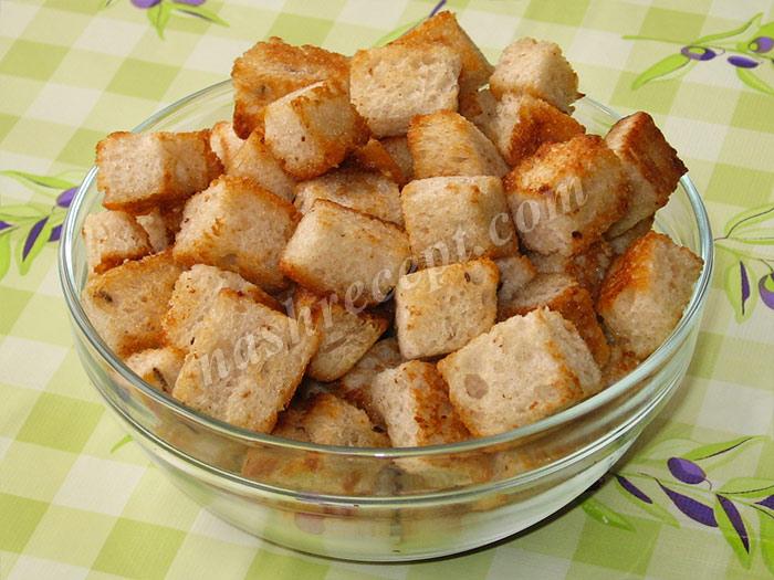 крутоны для салата Цезарь - krutony dlya salata Caesar