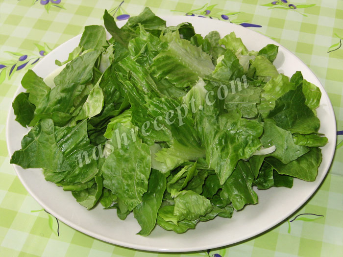 половину салата романо выкладываем на блюдо - polovinu salata romano vykladyvaem na blyudo