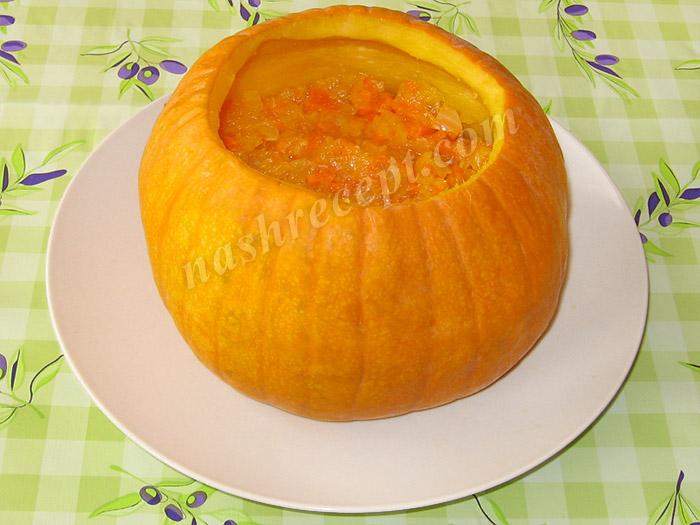 фаршируем тыкву: слой овощей - farshiruem tykvu: sloy ovoschey