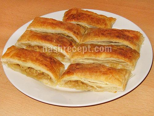 вкусный слоеный пирог с яблоками - sloeniy pirog s yablokami