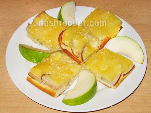 грушевый пирог с заварным кремом - grushevyi pirog s zavarnym kremom