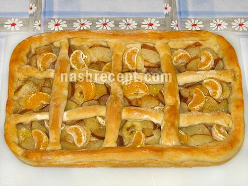 открытый постный пирог с фруктами - otkrytyi postnyi pirog s fruktami