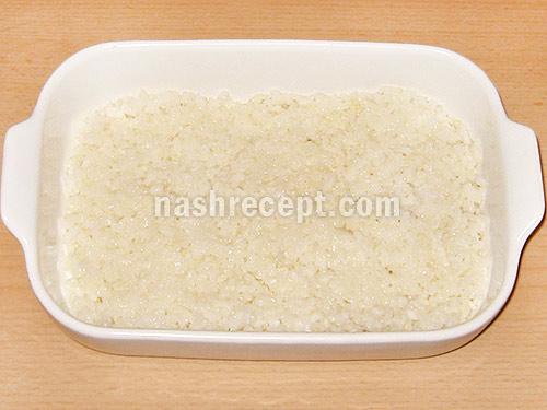 рисовая запеканка с мясом 1 слой - risovaya zapekanka s myasom 1 sloy