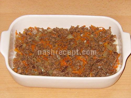 рисовая запеканка с мясом 2 слой - risovaya zapekanka s myasom 2 sloy