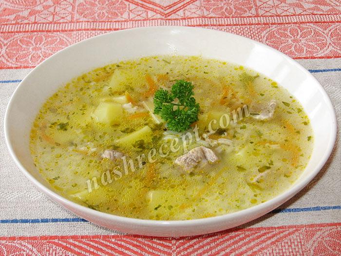домашний рисовый суп с мясом - domashniy risovyi sup s myasom