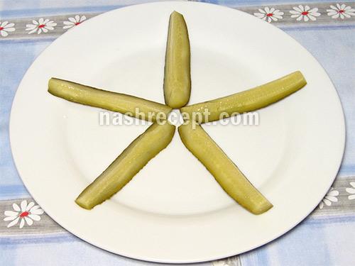 салат морская звезда огурец - salat morskaya zvezda ogurets