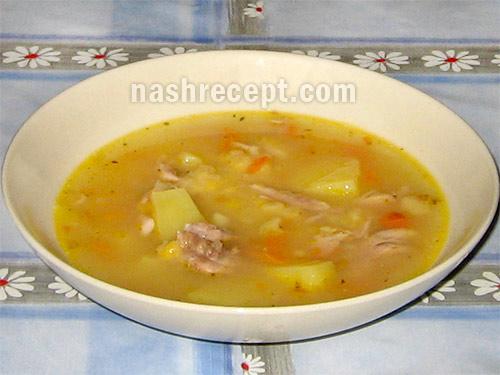 суп гороховый с курицей - sup gorohoviy s kuritsey