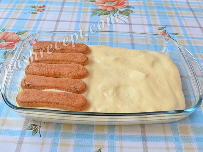 2 слой бисквитного печенья для тирамису