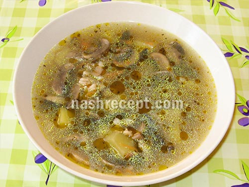грибной суп с перловой крупой - gribnoy sup s perlovoy krupoy