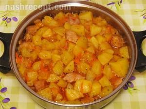 Курица тушёная с картошкой в казане рецепт пошагово