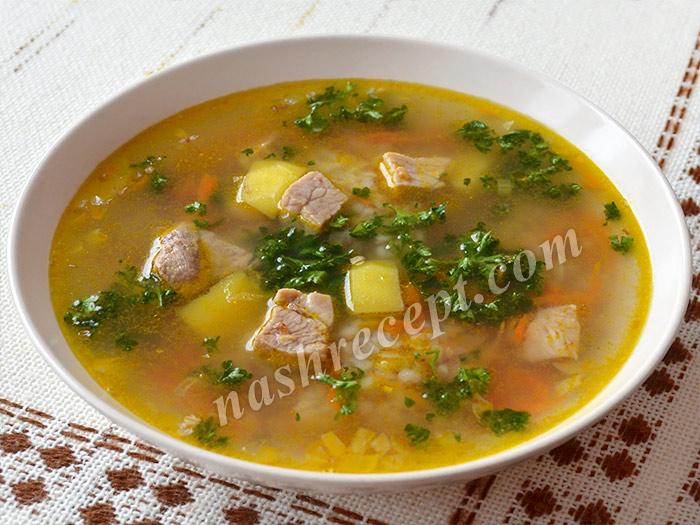 домашний гречневый суп с мясом - domashniy grechnevyi sup s myasom