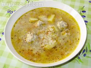 гречнево-рисовый суп с фрикадельками - grechnevo risovyi sup s frikadelkami