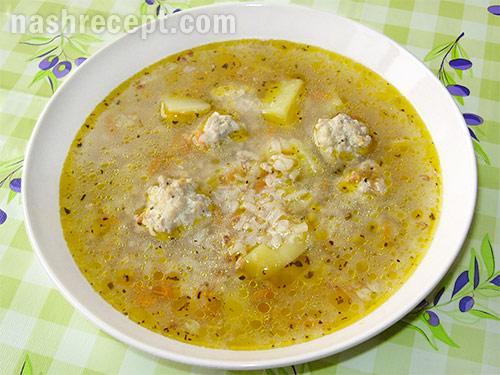 Гречнево-рисовый суп с фрикадельками
