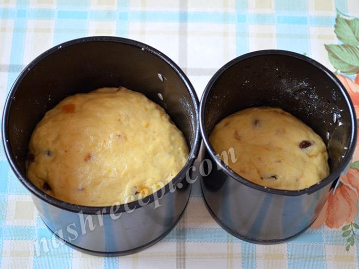 тесто для кулича в форме для выпечки