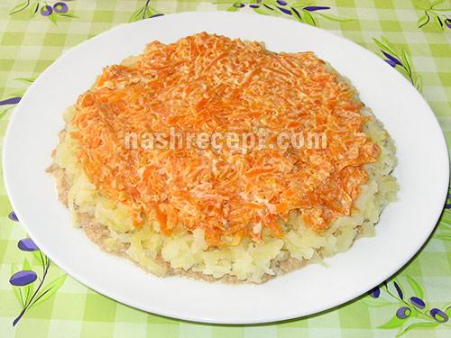 vykladyvaem morkov dlya salata Mimoza - выкладываем морковь для салата Мимоза