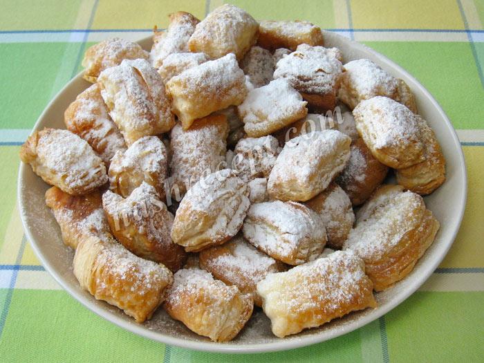 слоеное печенье в сахарной пудре - sloenoe pechenie v saharnoy pudre