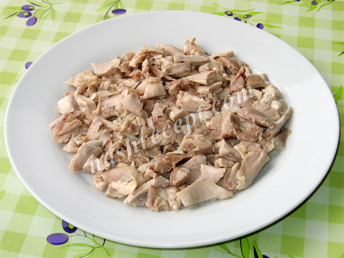 "салат ""Подсолнух"": слой курицы - salat podsolnuh: sloy kuritsy"