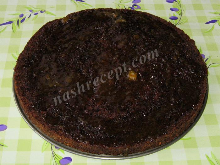 коржи торта Захер смазываем конфитюром - korzhi torta Sacher smazyvaem konfityurom