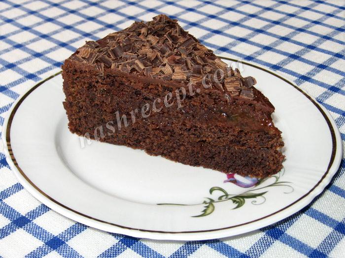 венский торт Захер в разрезе - venskiy tort Sacher v razreze