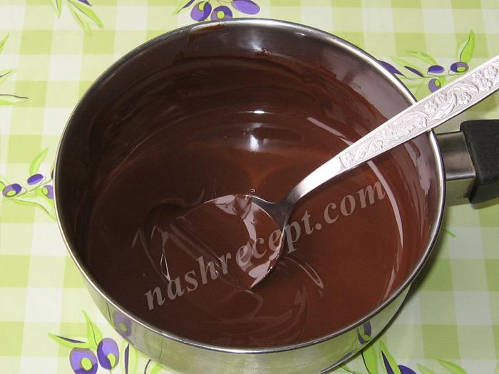 растопленный шоколад для торта Захер - rastoplennyi shokolad dlya torta Sacher