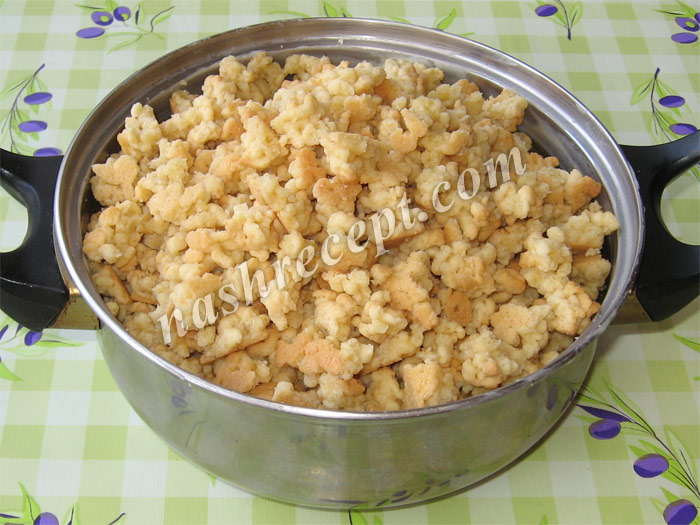 "ломаем песочный корж для торта ""Муравейник"" - lomaem pesochnyi korzh dlya torta ""Muraveynik"""