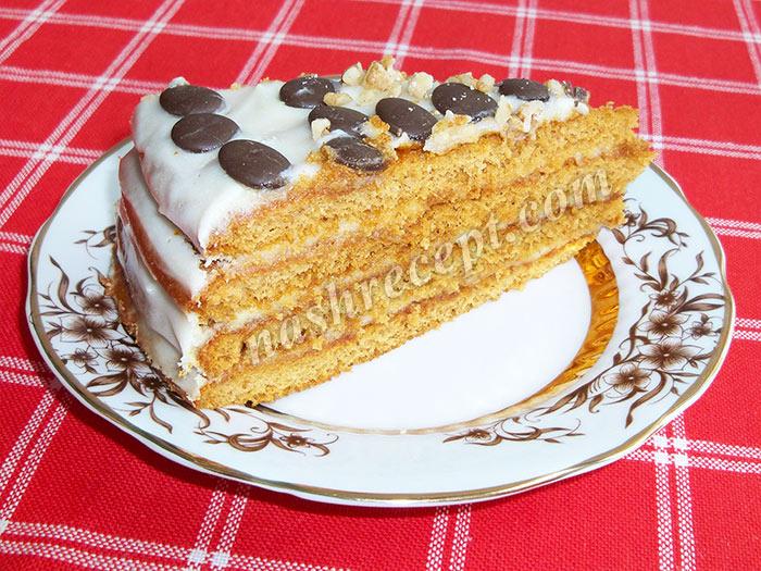 медовый торт со сметанным кремом в разрезе - medovyi tort so smetannym kremom v razreze