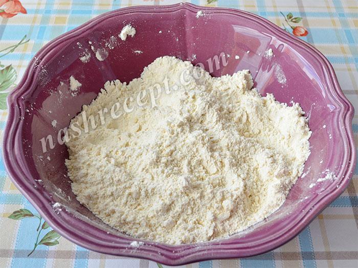 крошка из масла и муки для слоеного дрожжевого теста - kroshka iz masla i muki dlya sloenogo drozhzhevogo testa