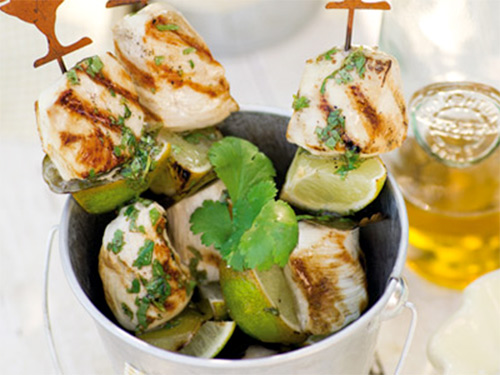 шашлык из курицы на шпажках с лаймом или лимоном - shashlyk iz kuritsy na shpazhkah s laymom ili limonom
