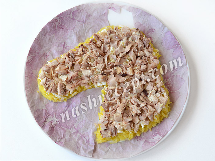 салат Лошадь: слой курицы - salat loshad: sloy kuritsy