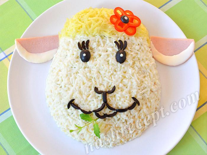 салат Овечка к Новому году - salat ovechka k Novomu godu