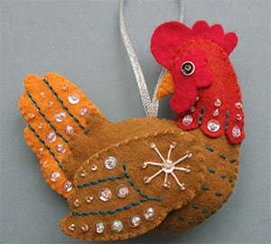 елочная игрушка курица своими руками