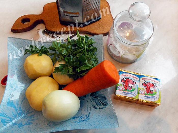 продукты для супа с плавленным сыром - produkty dlya supa s plavlennym syrom