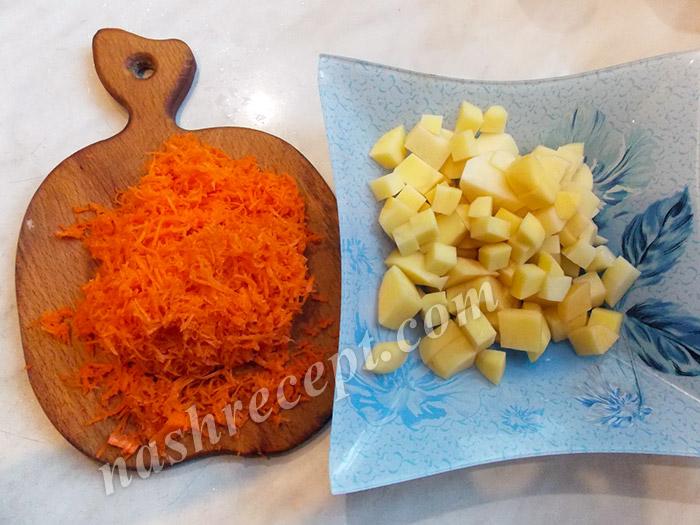 картофель и морковь для сырного супа - kartofel i morkov dlya syrnogo supa