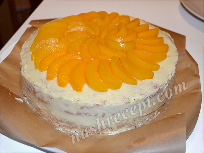 Рецепт бисквит с кремом фруктами