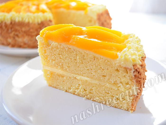 бисквитный торт с кремом в разрезе