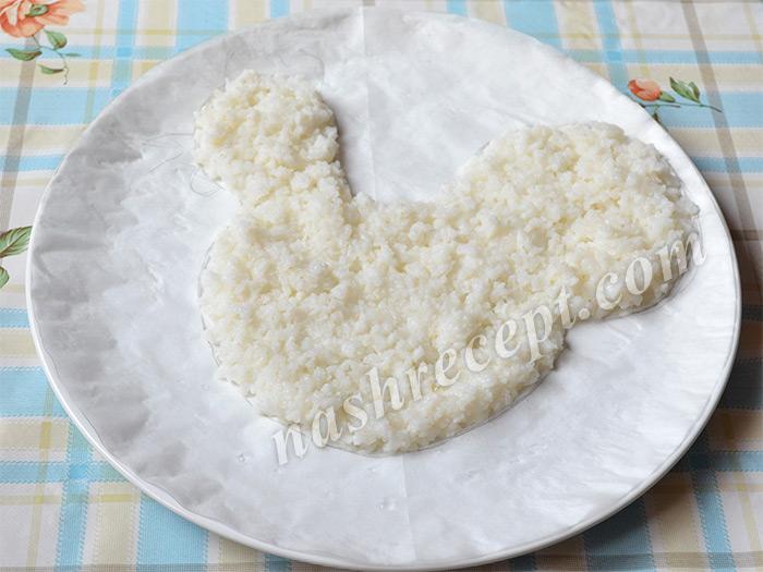 салат Петух: слой риса