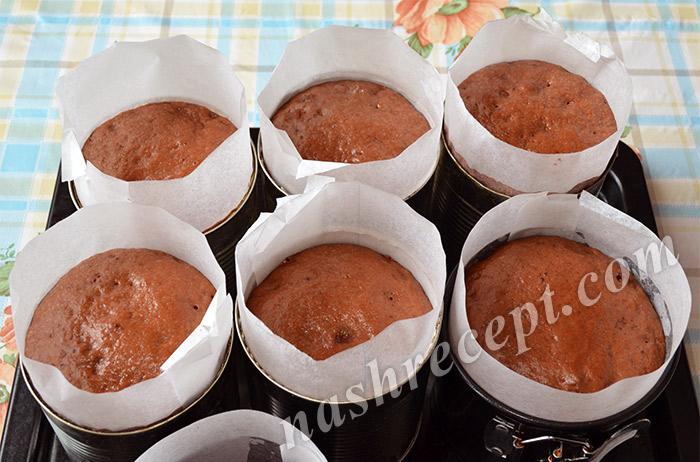 тесто для шоколадных куличей подошло в формах