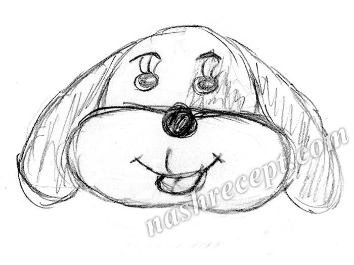 как нарисовать мордочку собаки для салата