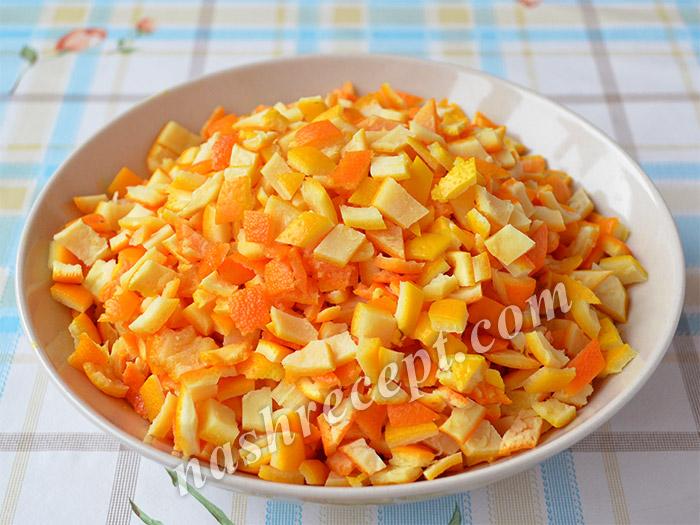 апельсиновые корки нарезаем кубиками