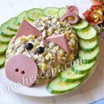 Салат Свинья к Новому году 2019